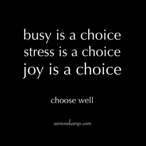 Busy is a choice. Stress is a choice. Joy is a Choice. Choose Well ~ quote